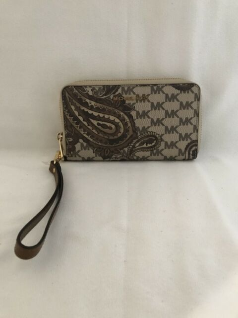 521486f854e4 NWT MICHAEL KORS Paisley Continental Brown/Tan Leather Wristlet Wallet
