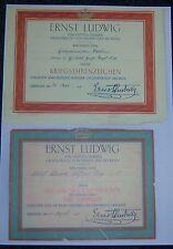 GERMAN/ HESSEN - 2 x Medal Award Certs. War Medal & General Award (for Valour).