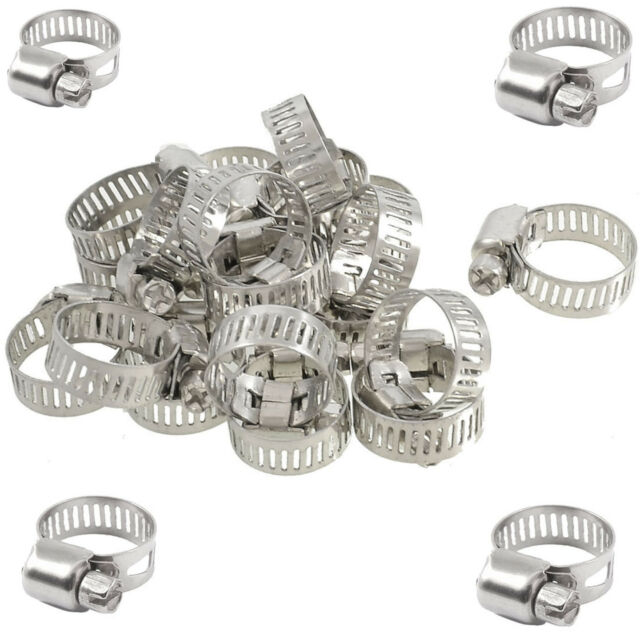 """10 Pcs Stainless Steel Adjustable Drive Hose Clamps Fuel Line Worm Clips 3/4""""-1"""""""
