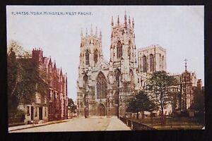 York-Minster-West-Front-Vintage-Colour-Photochrom-Postcard-F-44756-Unused