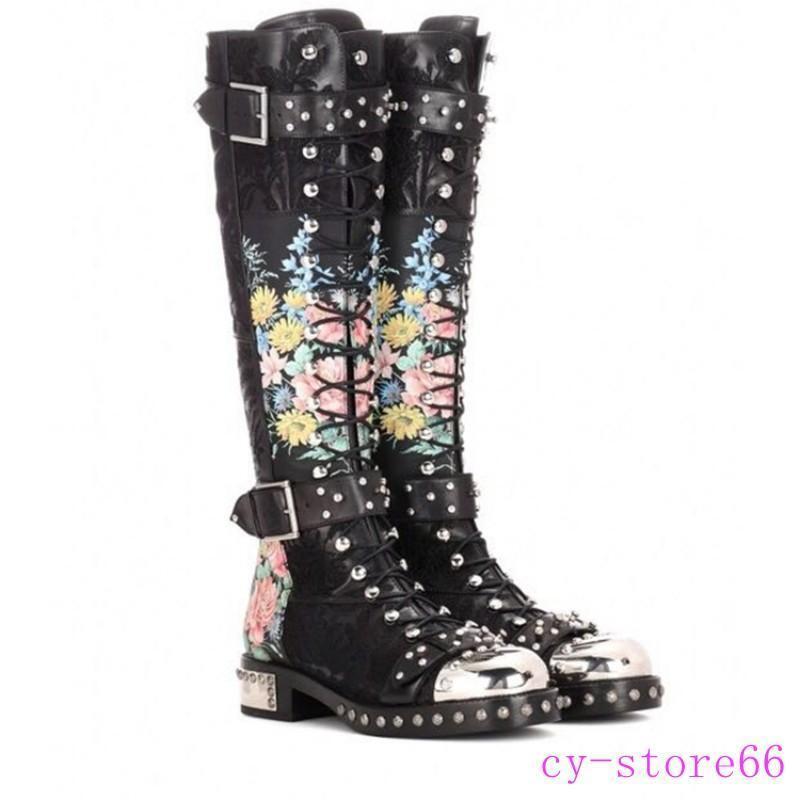 Punk para Mujer Floral Encaje Hasta la Rodilla botas Altas Altas Altas Zapatos de montar a caballo de la hebilla remache de metal del dedo del pie  tienda de pescado para la venta
