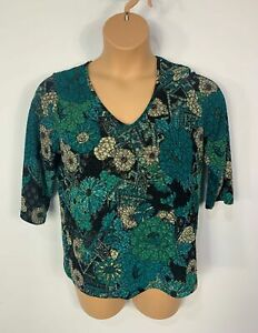 WOMENS-MARKS-amp-SPENCER-GREEN-FLORAL-3-4-SLEEVE-V-NECK-CASUAL-T-SHIRT-SIZE-UK-16