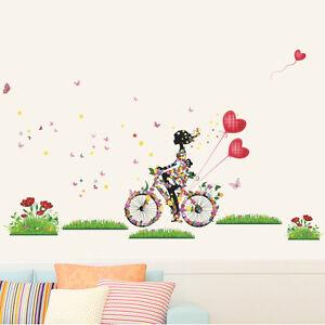 Das Bild Wird Geladen Wandtattoo Blumen Maedchen Fahrrad Schmetterling  Herz Luftballon Deko