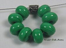 ROA Lampwork 8 Grass Green 5x8 mm Handmade Round Spacer Artisian Glass Beads SRA