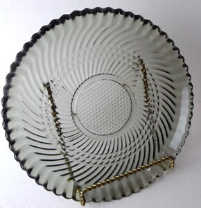 Libbey-Glass-Gray-Dinner-Plates-Vintage-Canadian-CANADA-embossed-smoky-colored