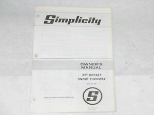 simplicity mfg no 562 32 rotary snow thrower owners manual ebay rh ebay com Simplicity 8526L simplicity snowblower service manual