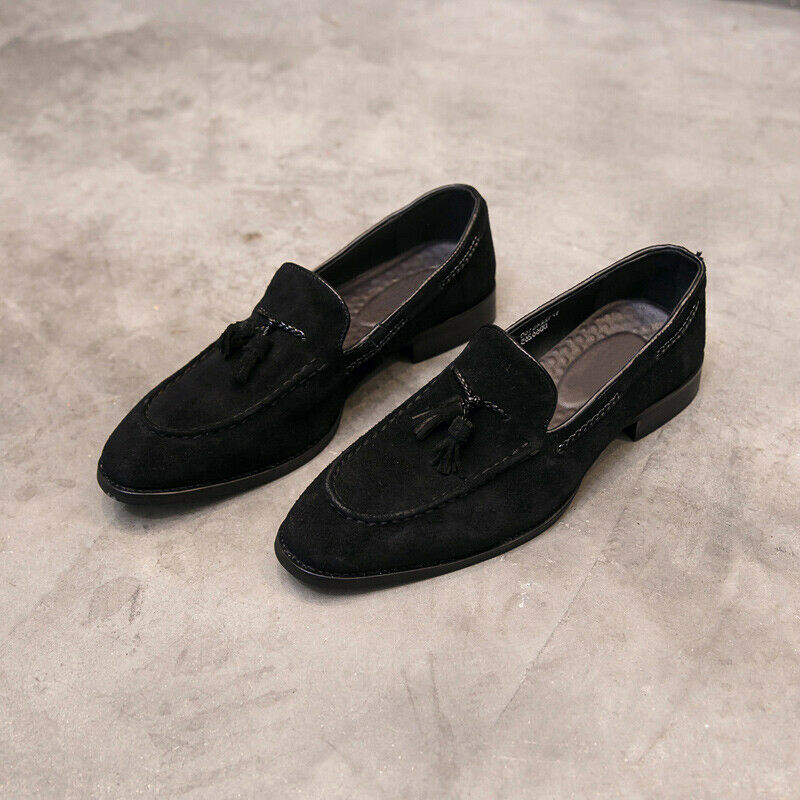 Mens Tassel Suede Leather Slip On Casual Formal Dress Loafers shoes British