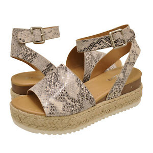 d2ca95bb098 Details about Women's Shoes Soda TOPIC Platform Wedge Espadrille Sandals  BEIGE PYTHON