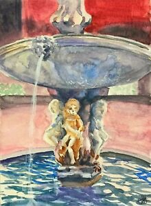 034-Fountain-034-ORIGINAL-signed-watercolor-painting-Europe-travel-Italy