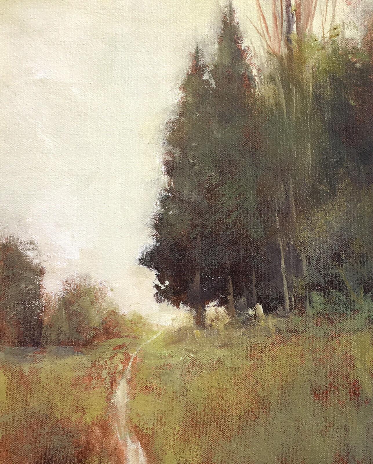 Original tree painting impressionist landscape plein air painting S J Studio 8