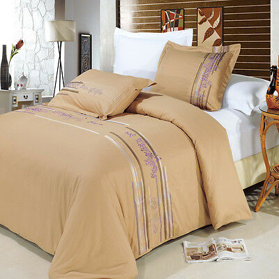 LUXURIOUS Anna Embroidered 100/% Egyptian Cotton Duvet Cover Sets 2 Sizes