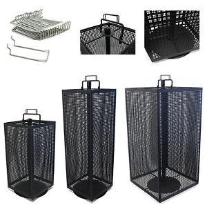 Lochwand-Tisch-Metall-Verkaufsstaender-Warenstaender-Drehstaender-Drehbar-Schwarz