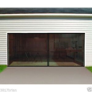 CoopéRative Double Garage Door Screen 16 Ft. W X 7 Ft. H Magnetic Closure Weighted Bottom