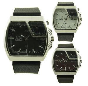 Eine-London-Breite-Lederriemen-amp-Dual-Time-Zone-Herren-Junge-Mode-Uhr-AN3832