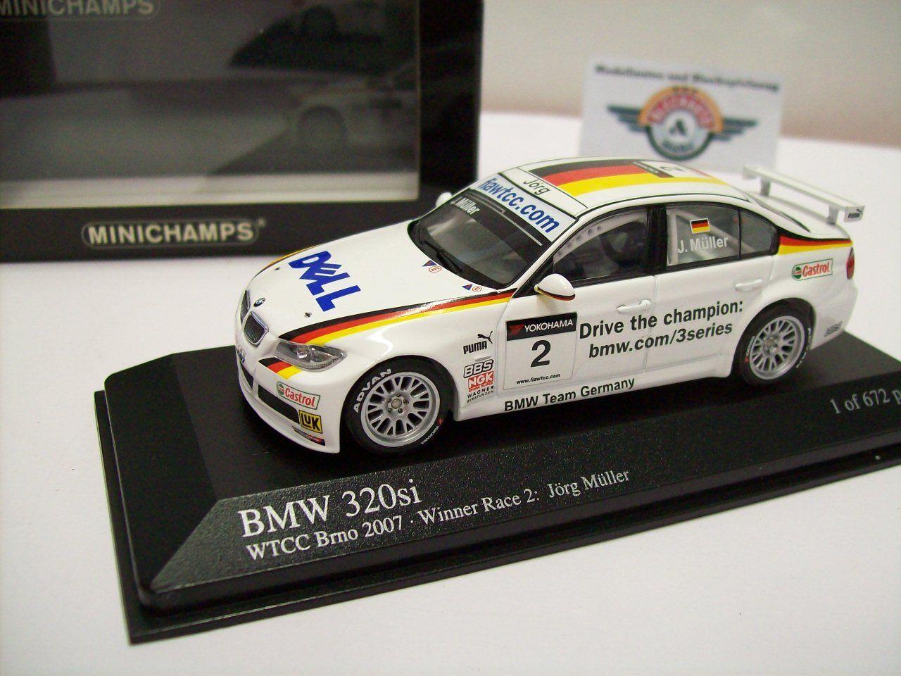 BMW 320si  e92   2  WTCC Brno 2007 , bianco, Minichamps 1:43, OVP
