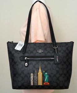 coach NY stories Skyline Taylor Signature Brown PVC Shoulder Tote ... d929018f54