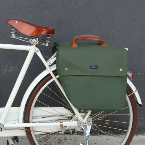 Tourbon Canvas Bike Double Pannier Bicycle Rear Market Shopping Bags Large US