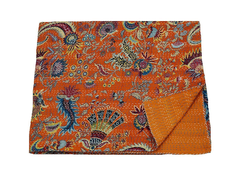 orange Indian Hand Stitched Kantha Blanket Queen Size Cotton Quilt Bedspread