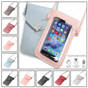 2 pcs Womens Mobile Phone Bag Touchable PU Leather Change Bag Crossbody Mobile Phone Pouch Wallet