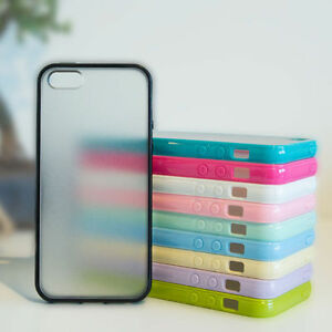 For-Apple-iPhone-4-5-6-Slim-Gel-Silicone-Bumper-Case-Clear-Hard-Back-TPU-Cover