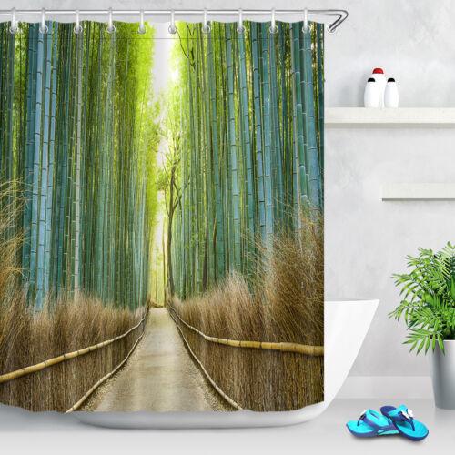 "72X72/"" Rustic Road accross Bamboo Shower Curtain Set Bathroom Bath Mat Rug Hooks"