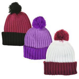 4e664c32cd9 Children Girls Pom Pom Bobble Hat Winter Warm Soft Knitted Beanie ...