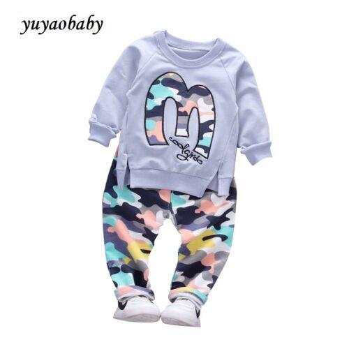 Baby Girls cotton Camouflage Jackets Pant 2pcs Fashion Children Sports Suit
