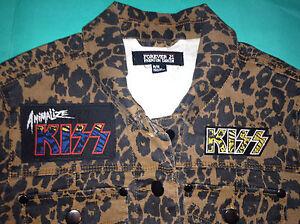 Glam Army amp; Kiss Animalize Night Rock Jacket Roll All Girls' Denim Leopardskin FdxCwqY