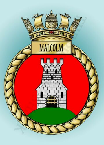 HMS MALCOLM CREST ON A METAL SIGN 5 x 7 INCHES FITS PHOTO FRAME
