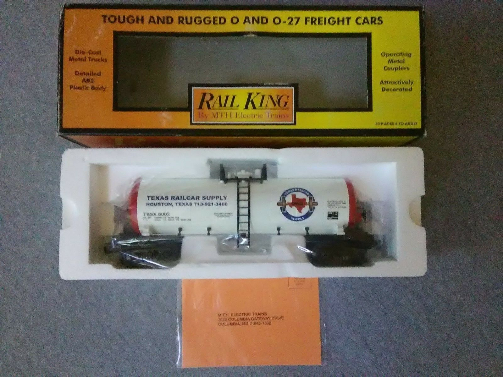 MTH O Gauge Texas Railcar Supply (Cab ) Modern Tank Car 30-73202  TS