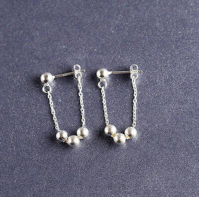 925 Sterling Silver Balls Thread Dangle Drop Post Stud Earrings Women A1090