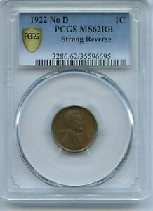 1922 No D Lincoln Wheat Cent PCGS UNC Red Brown MS62RB Strong Reverse JC105