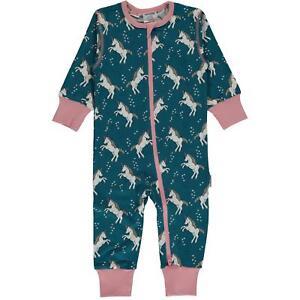 b1c114982a0d9 Details about NEW Maxomorra Blue Unicorn Dreams Organic Cotton Zip  Rompersuit Sleepsuit