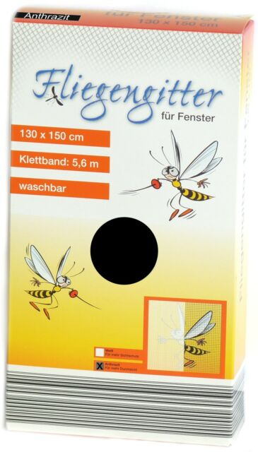 FENSTER FLIEGENGITTER FLIEGENNETZ 130 x 150 schwarz NEU Moskitonetz Insektennetz