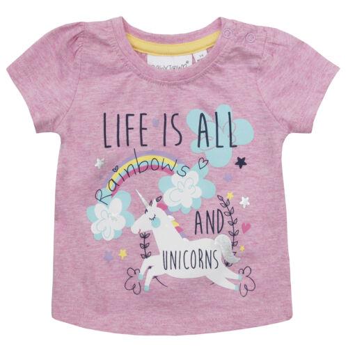 MiniKidz Baby Girls Printed T-Shirts Cotton Rich Novelty Summer Tops Ages 0-24m