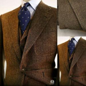 Brown-Men-Suits-Wool-Blend-Herringbone-Vintage-Tweed-Formal-Tuxedos-Blazer-Pants