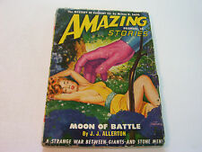 AMAZING STORIES  DECEMBER 1949  MOON OF BATTLE   SEXY BUSTY COVER  FINE-