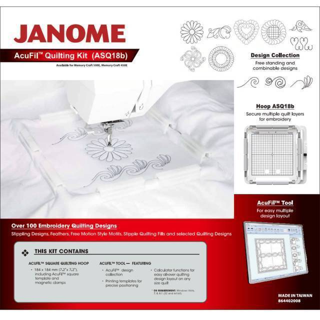 Janome Acufil Quilting Kit for the MC500E Embroidery Machine Hoop + Software NEW