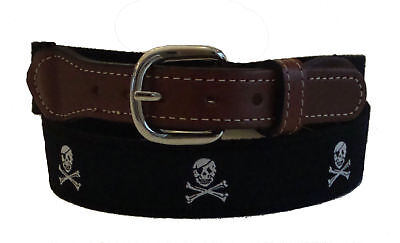 Moonshine WHALE Embroidered Leather Canvas Nautical Ribbon Belt NWT pic size