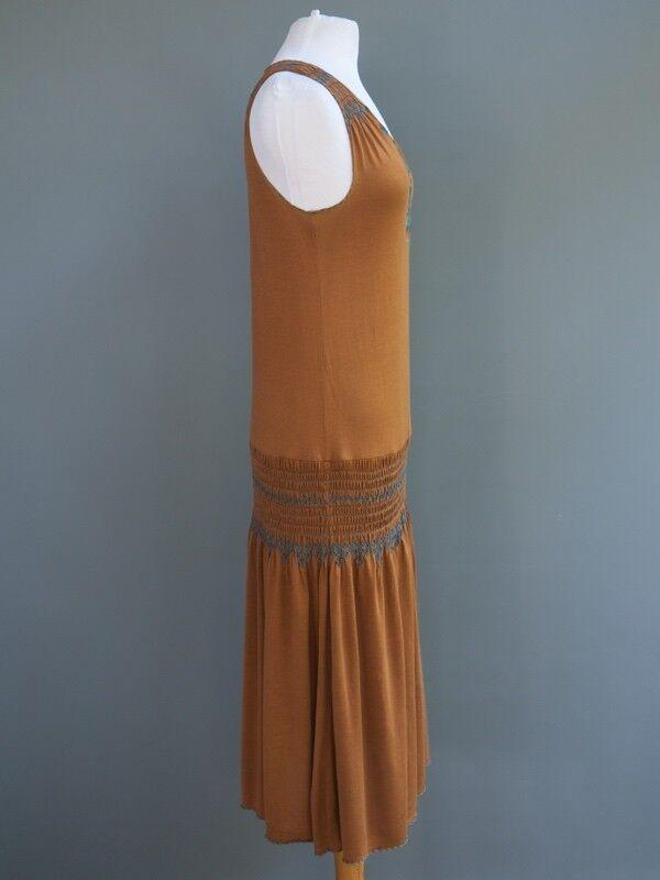Lotta Stennson Copper Cotton Teal Embroidery Elastic Elastic Elastic Drop Waist Sun Dress S 20d1e1
