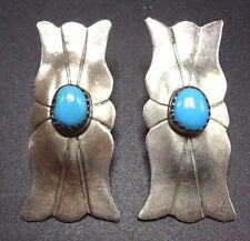 Vintage NAVAJO Sterling Silver Concho Sleeping Beauty TURQUOISE EARRINGS Pierced