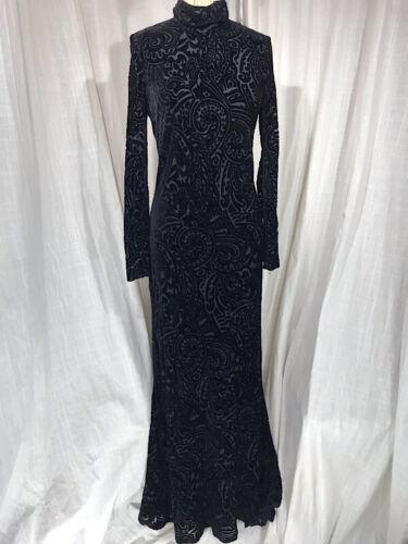 Vintage Inspired 1930's Black Velvet Long Evening