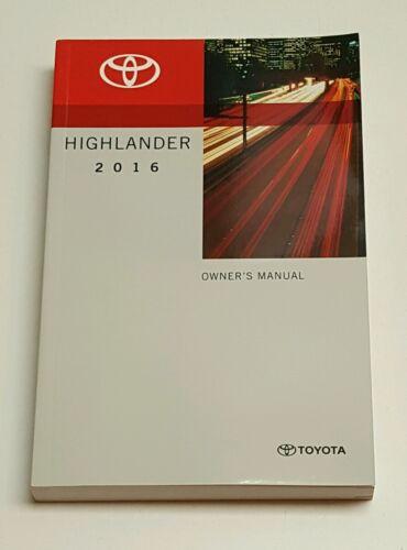 2016 TOYOTA HIGHLANDER OWNERS MANUAL V6 3.5L LIMITED PLATINUM XLE LE PLUS AWD 2W