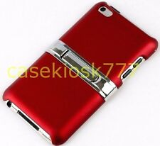 for iPod touch 4th 4 th 4G itouch rubber ized sexy red case w/ kick chrome stand