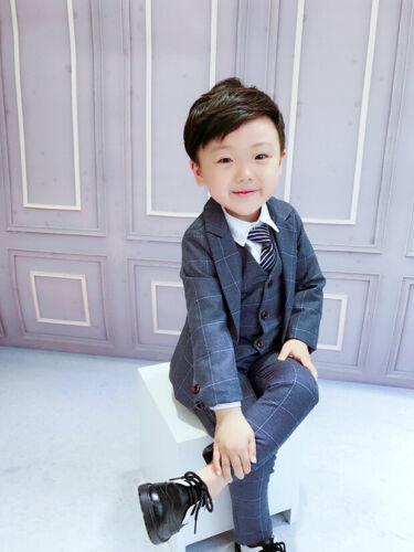 Boys Wedding Suits Sets Kids Party Costume  Plaid Blazer Vest Pants 3Pcs Outfits