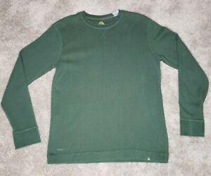 Nike-ACG-Mens-Small-S-Green-Long-Sleeve-Shirt-Lightweight-Thermal-Waffle-Knit
