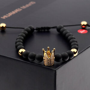 Stylish-Men-039-s-Fashion-Cubic-Zircon-Gold-Plated-Crown-Bead-Macrame-Bracelet
