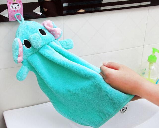 Nursery Hand Towel Soft Plush Fabric Cartoon Animal Hanging Wipe Bathing TowelHI
