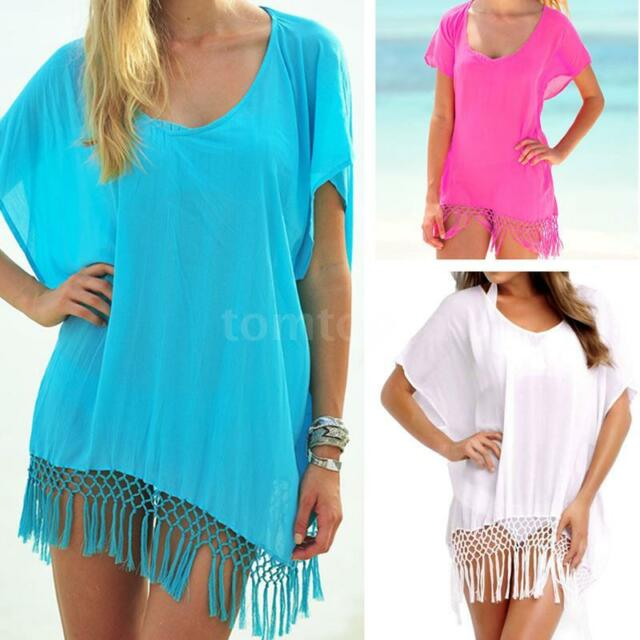 Womens Ladies Sexy Solid Casaul Loose Beach Dress Bikini Swimwear Cover Up