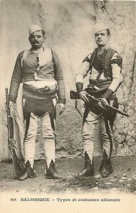 CARTE-POSTALE-SALONIQUE-TYPES-ET-COSTUMES-ALBANAIS